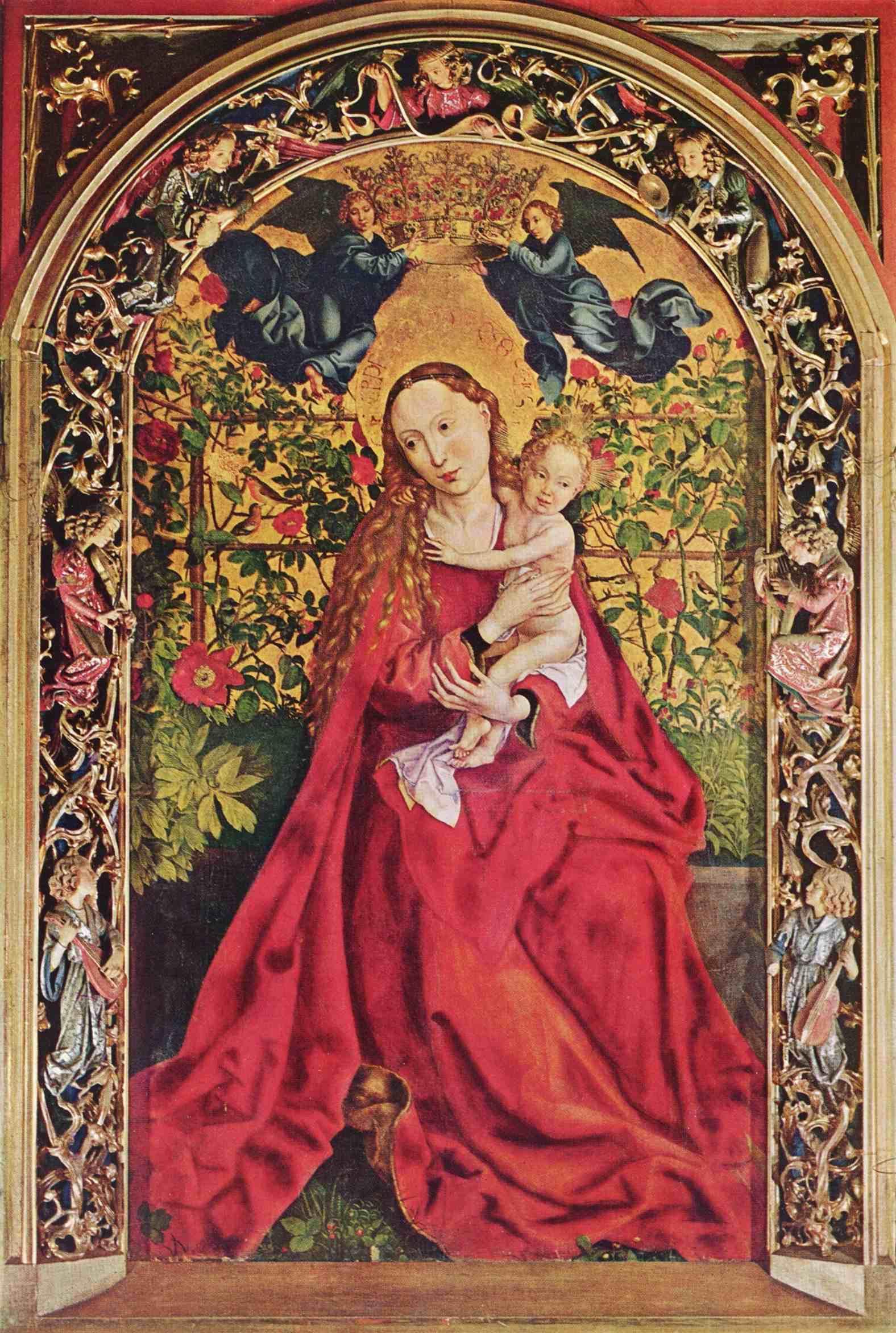 Vierge au buisson de roses